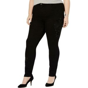 Style & Co Embroidered Black Curvy Fit Skinny Jean